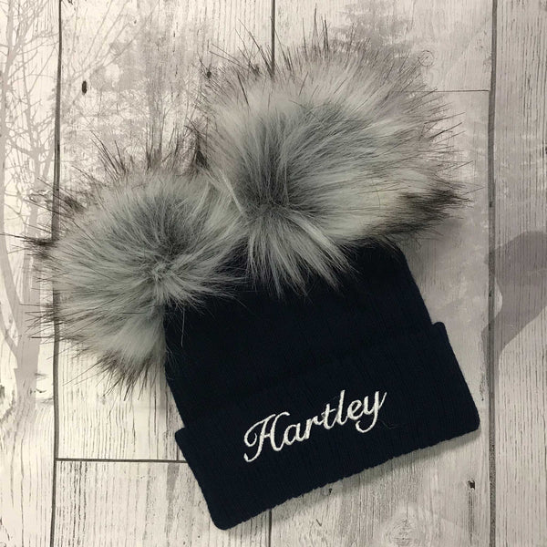 Personalised Baby Hat -Navy Blue Double Pom