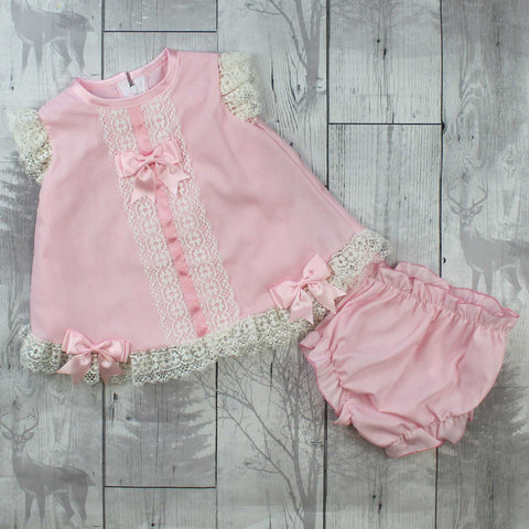 Baby Girl Dress and Knickers Outfit - Pink