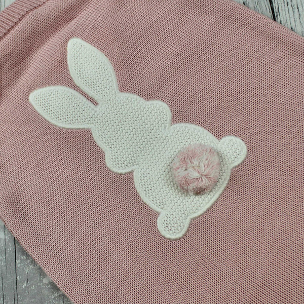 Dusky Pink Knitted Romper with Bunny