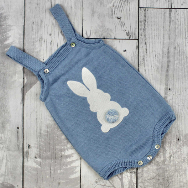 Baby Boy Blue Knitted Romper with Bunny