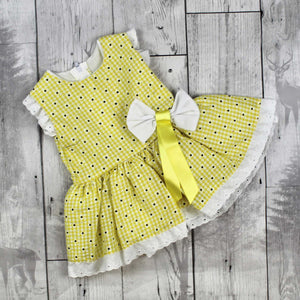 Baby Girl  Lemon Yellow Summer Dress with Daisy Print
