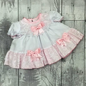 Baby Girl Frilly Puffball Dress - Pink