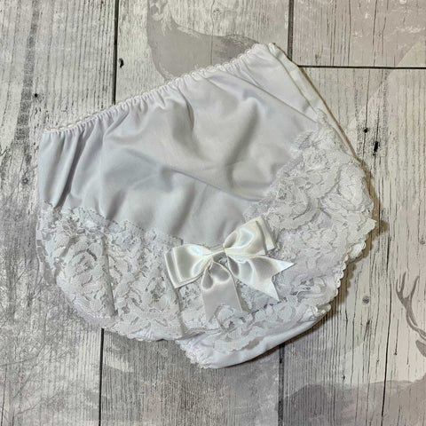 0 to 18 Months White, 12-18 Months Soft Touch Baby Girls Frilly Pants//Knickers//Nappy Covers