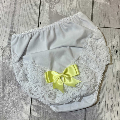 frilly knickers with yellow bow