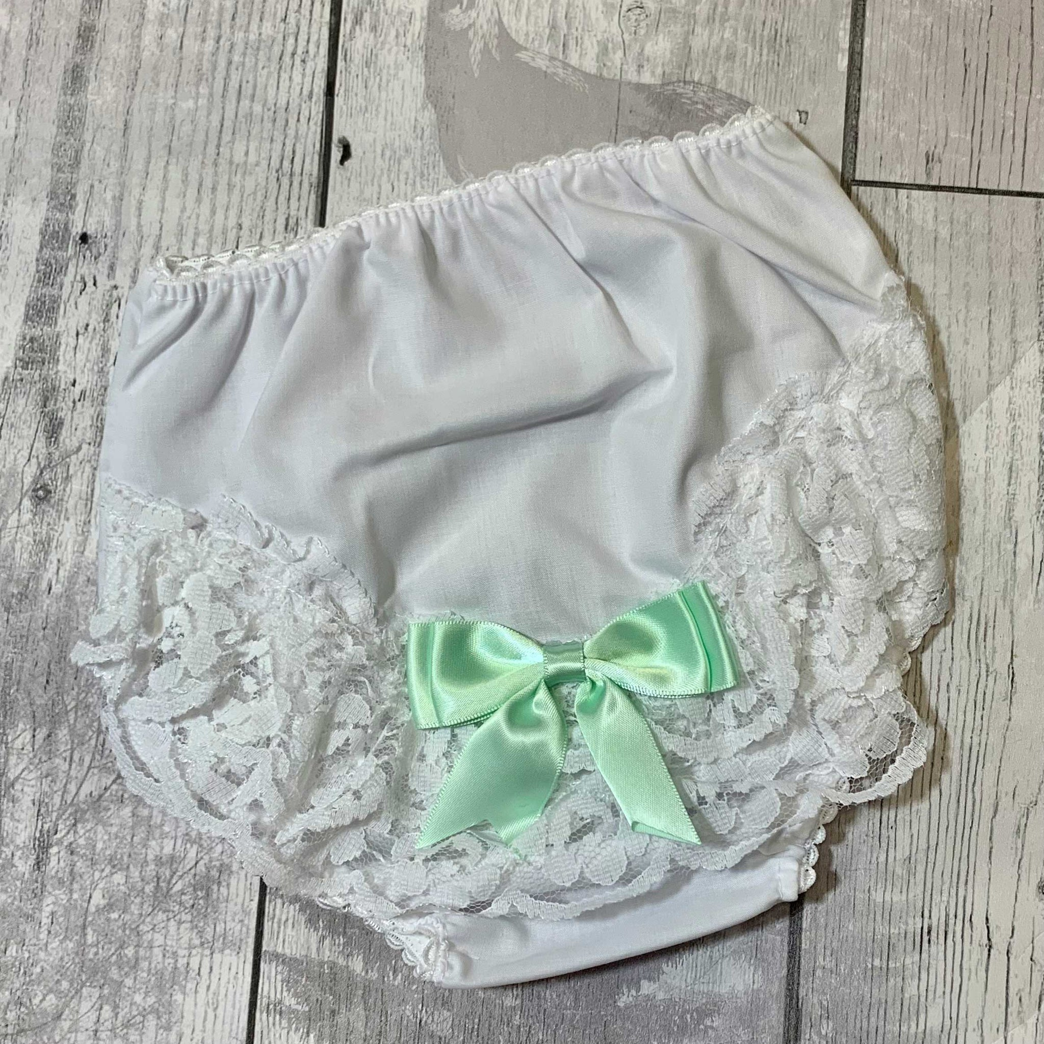 Baby girls white cotton frilly knickers / nappy covers - mint bow