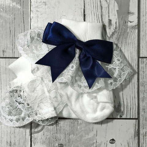 frilly baby socks with navy blue bow