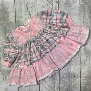 Baby Girl Frilly Puffball Dress - Pink Tartan
