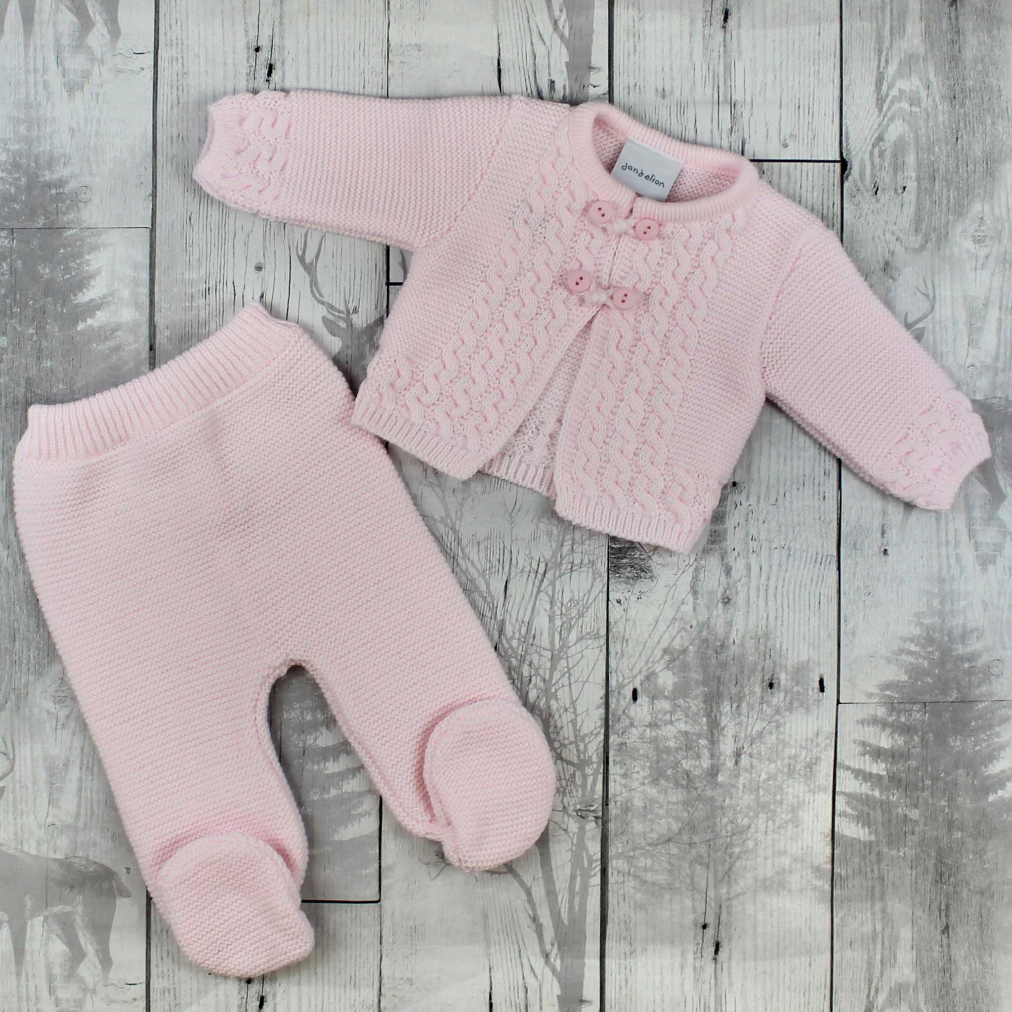 Pink Pram Suit - Knitted Two Piece Outfit