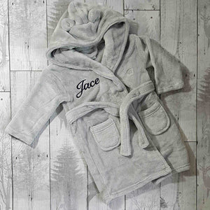 baby dressing gown grey