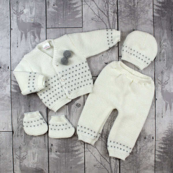 Knitted Unisex Outfit White Grey Top, Trousers, Booties and Hat
