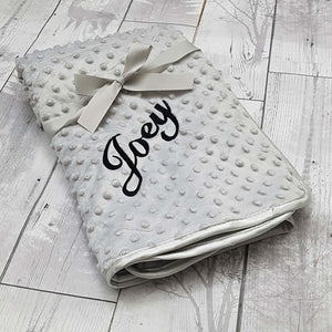 personalised baby blanket grey custom cover