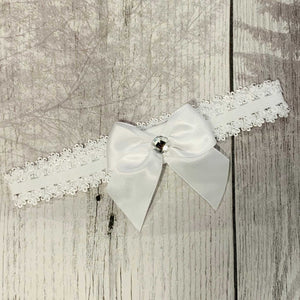 Baby Headband with with bow and diamanté - White