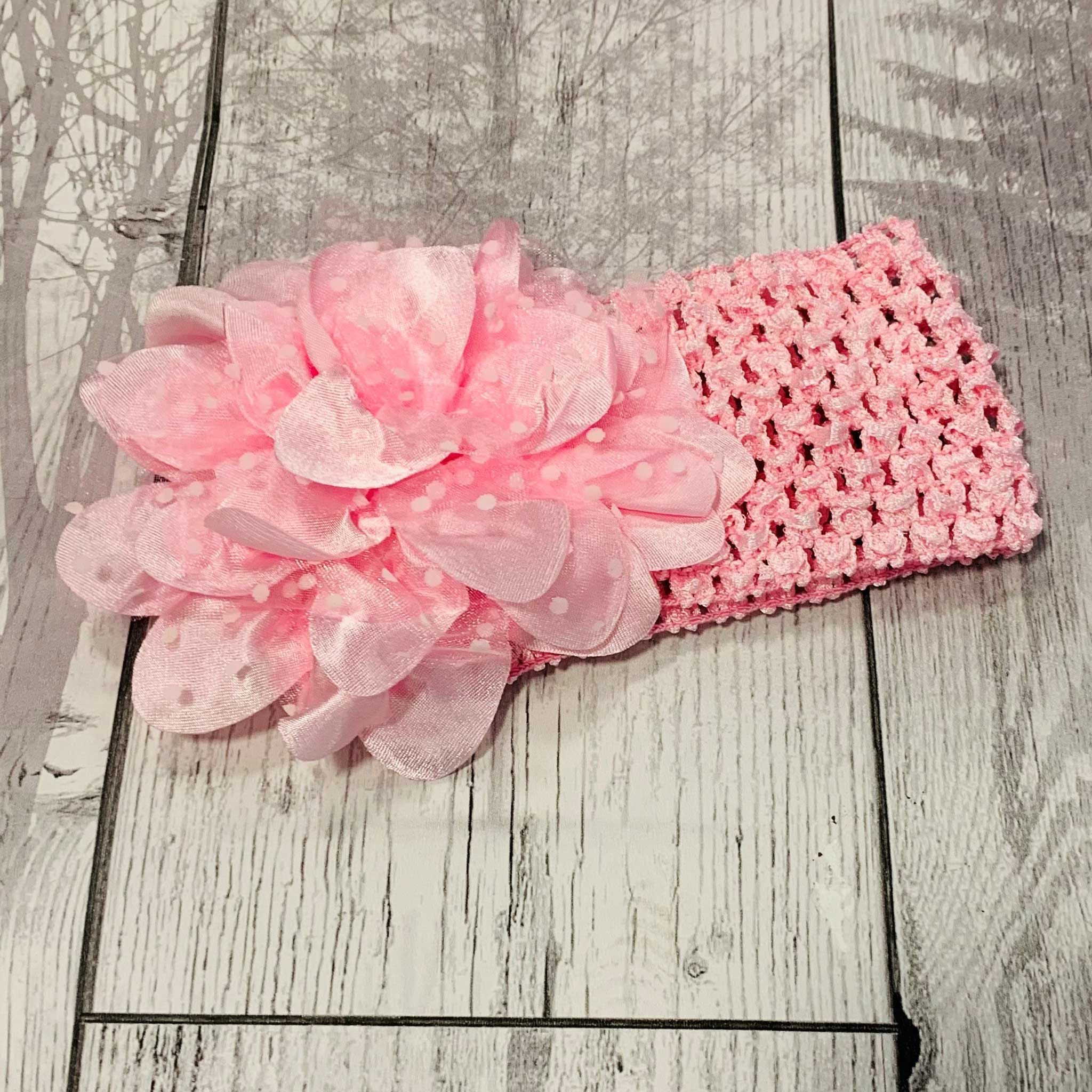Baby Girl  Pink Headband with Polka Dot Flower