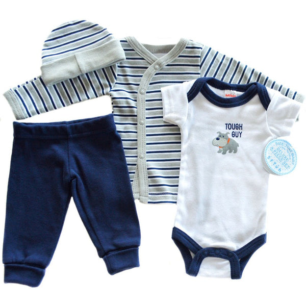 Tiny Baby Boy 4 Piece Outfit- Vest, Top, Trousers and Hat