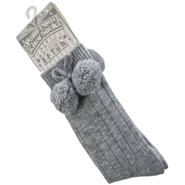 Grey Baby Pom Pom knee high socks.