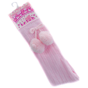 Girls pink Pom Pom knee high socks.