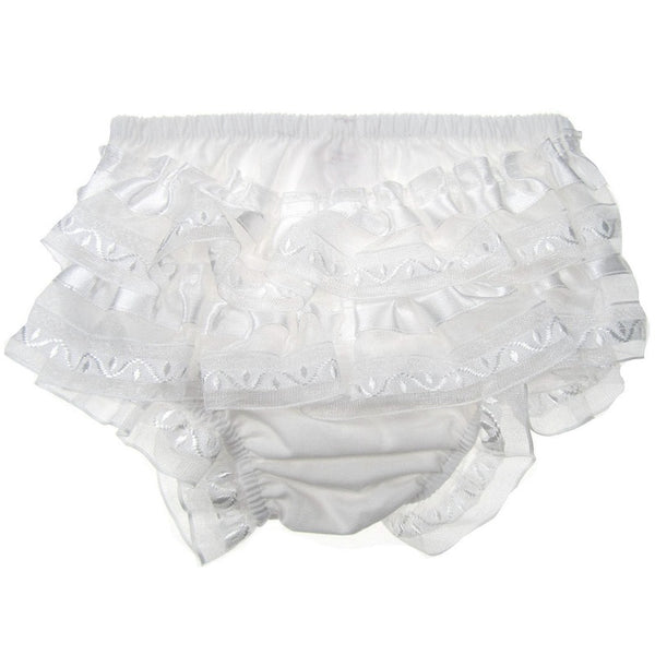 Baby girls white satin frilly pants / knickers
