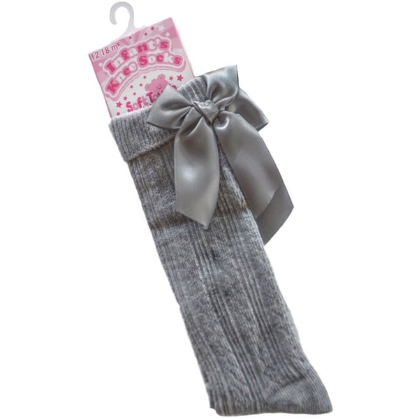 Baby Girls Grey Knee High socks with Satin Bow