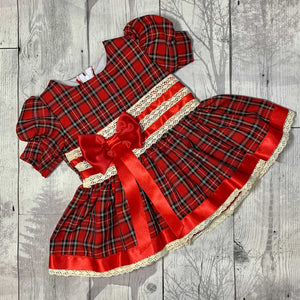 Baby Girls Red Tartan Dress with bows