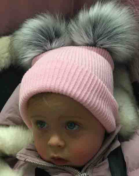 Baby girls pink double raccoon Pom Pom hat- Can be personalised