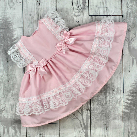 Baby Girl Frilly Puffball Dress with Pink Bows and Lace