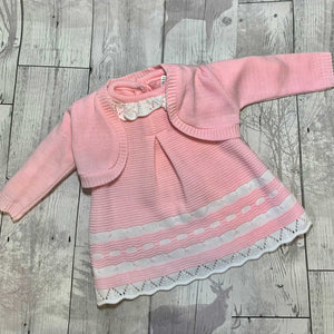 Baby Girls 2 Piece Knitted Outfit- Dress and Bolero Cardigan