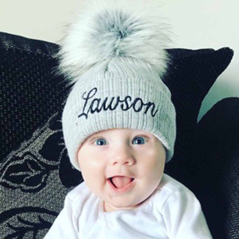 personalised baby hat grey pom