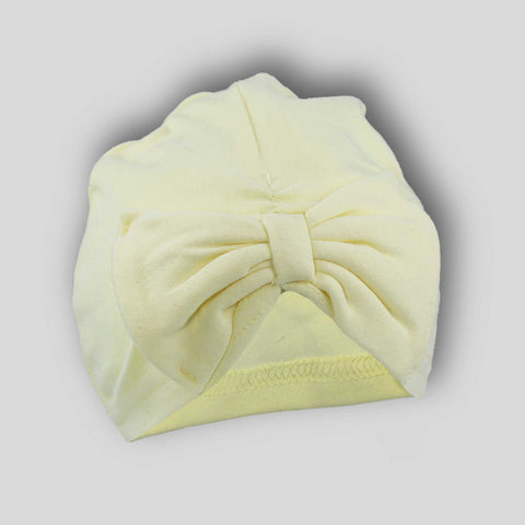 Baby Turban Hat with Bow -Lemon - Newborn to 6 month