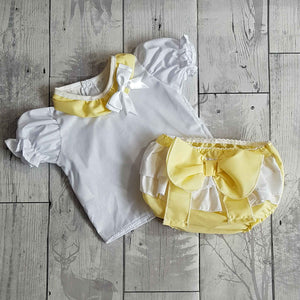 baby girl lemon frilly bum outfit