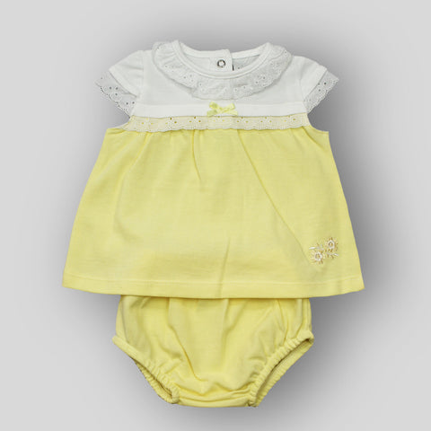 Dress and Bloomers Outfit - Lemon and White