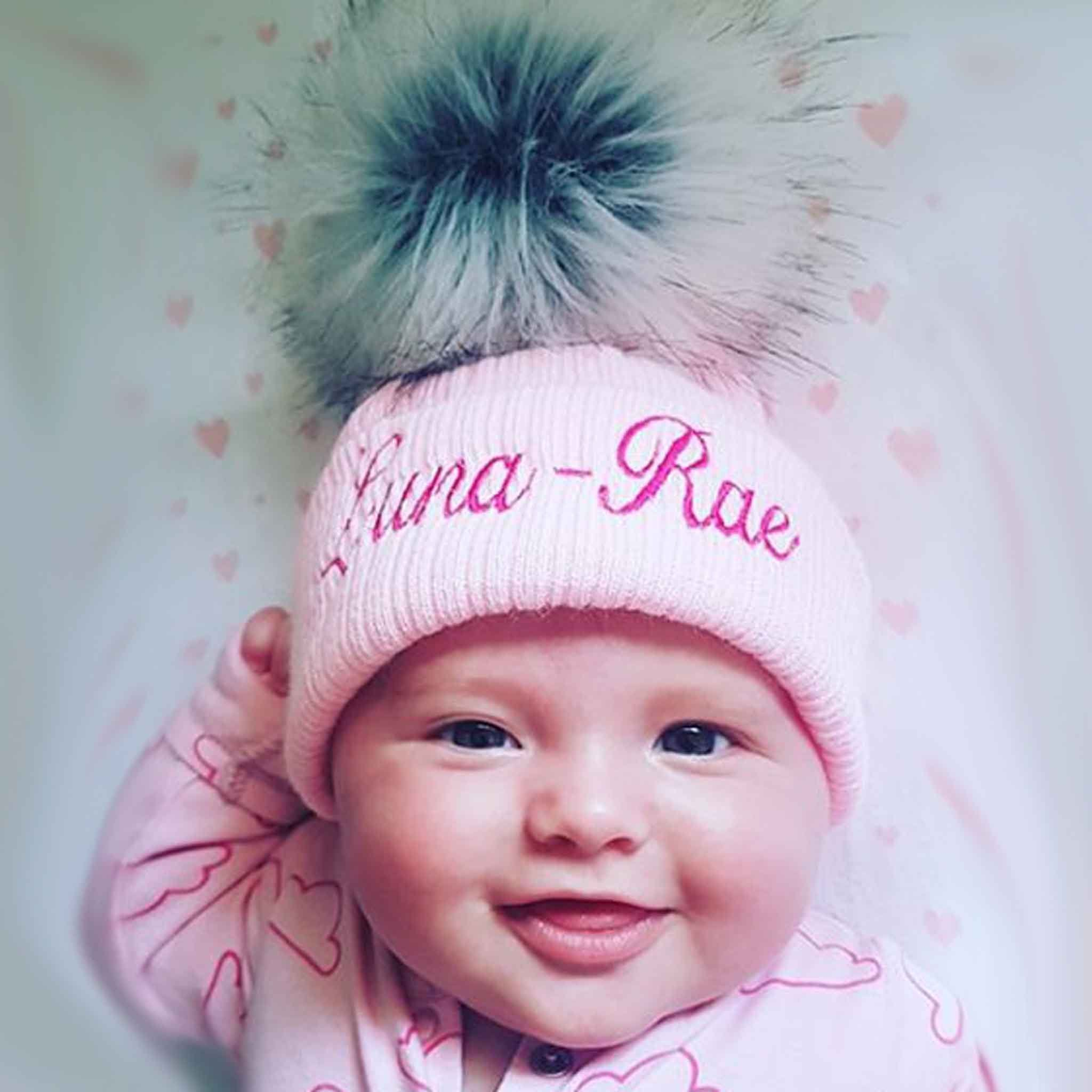 personalised baby hat pink fur pom