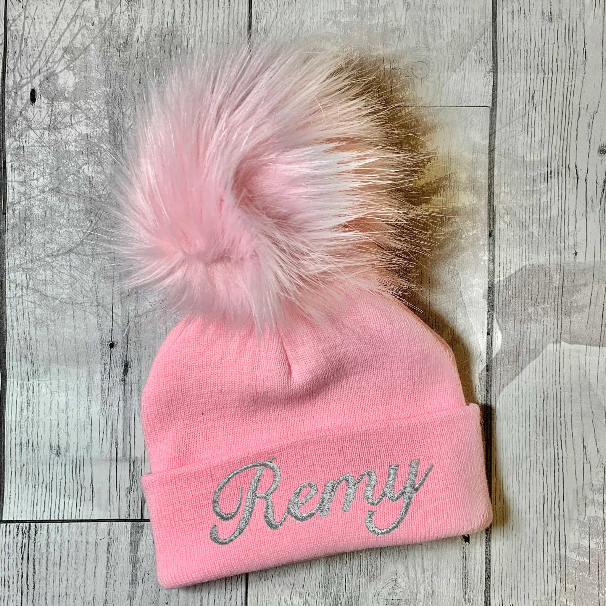 Personalised Baby Hat- Extra Large fur pom
