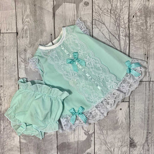 Baby Girl Lace Dress and Bloomers Outfit - Mint