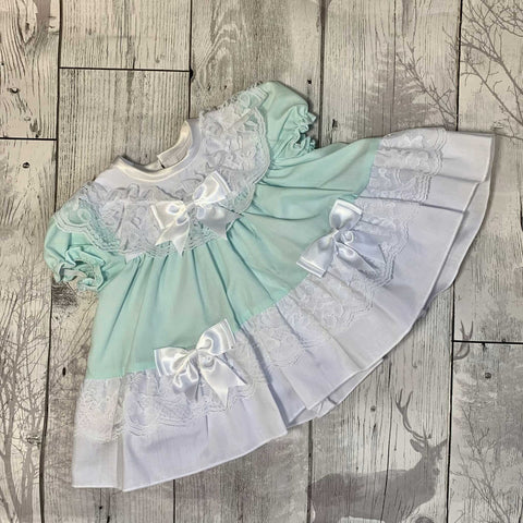 Baby Girl Frilly Puffball Dress - Mint Green and White