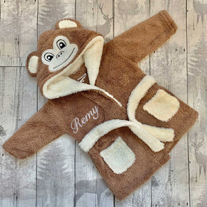 Personalised Baby Dressing Gown - Monkey