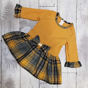 Baby Girls Grey Mustard Tartan Dress