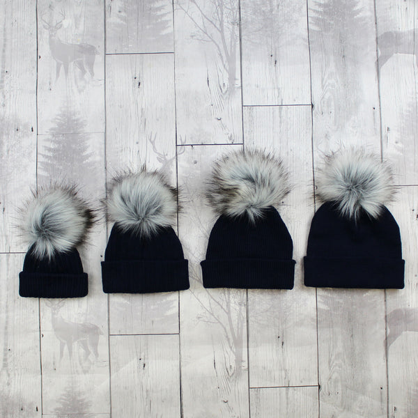Navy Faux Fur Baby Pom Pom Hat-Option to Personalise / Add Name