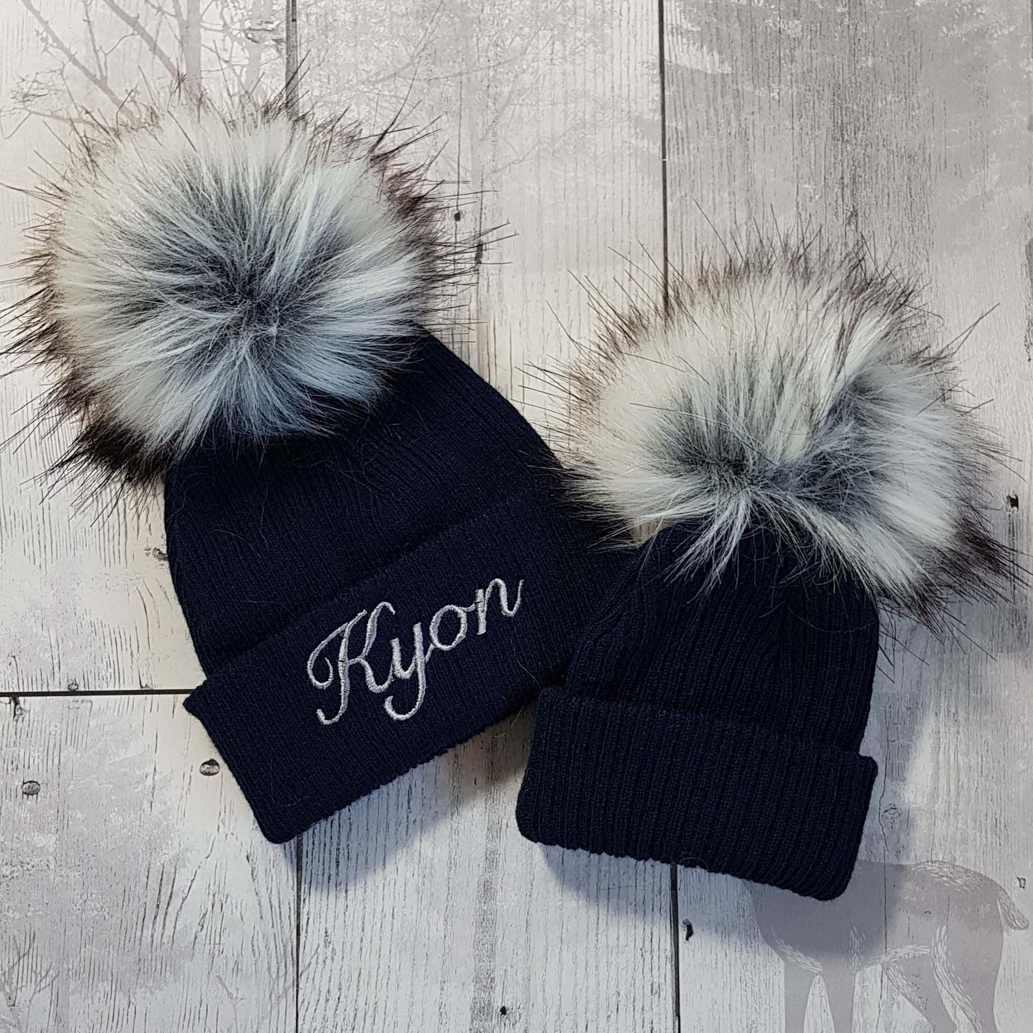 baby newborn toddler personalised hat fur pom bobble blue navy