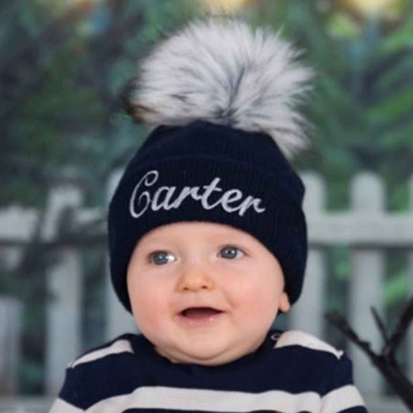 personalised blue baby hat