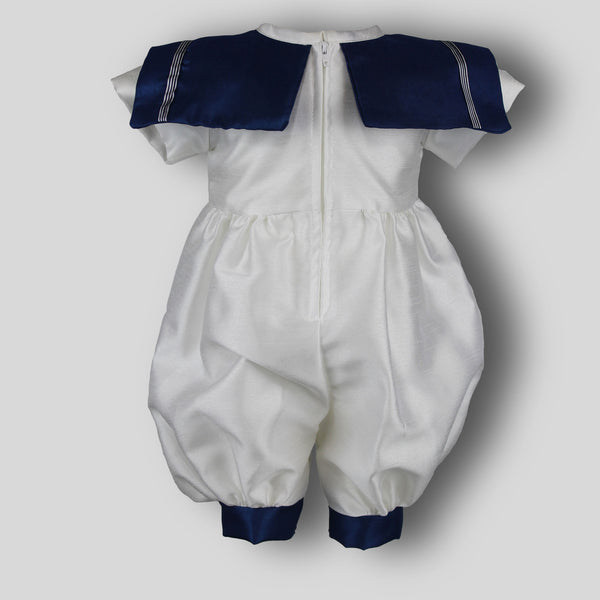 Baby Boys White Christening Baptism Outfit Suit Romper with Hat - White Navy