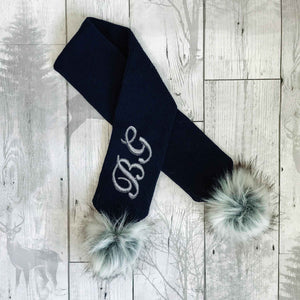 personalised baby scarf navy blue