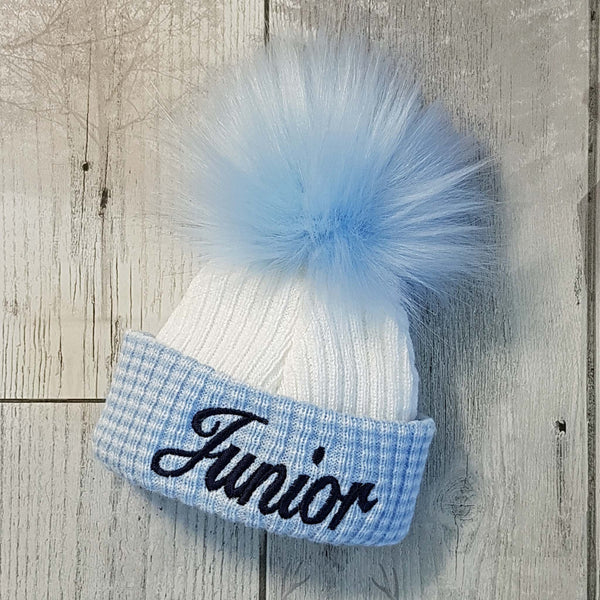 newborn baby boy  personalised fur pom hat