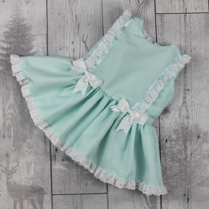 Baby Girls Dress -Mint Green with White Bows