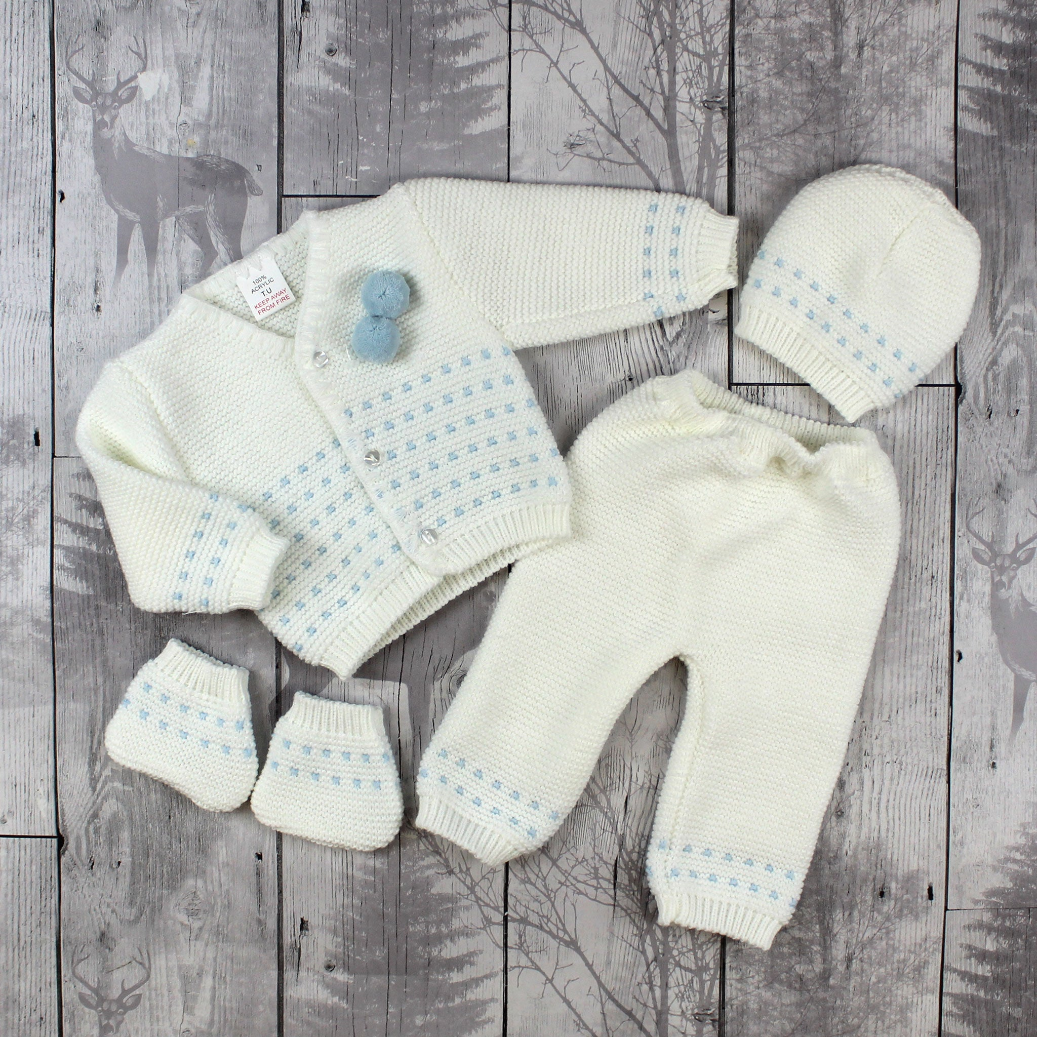 Knitted Baby Boy Outfit White Blue Top, Trousers, Booties and Hat