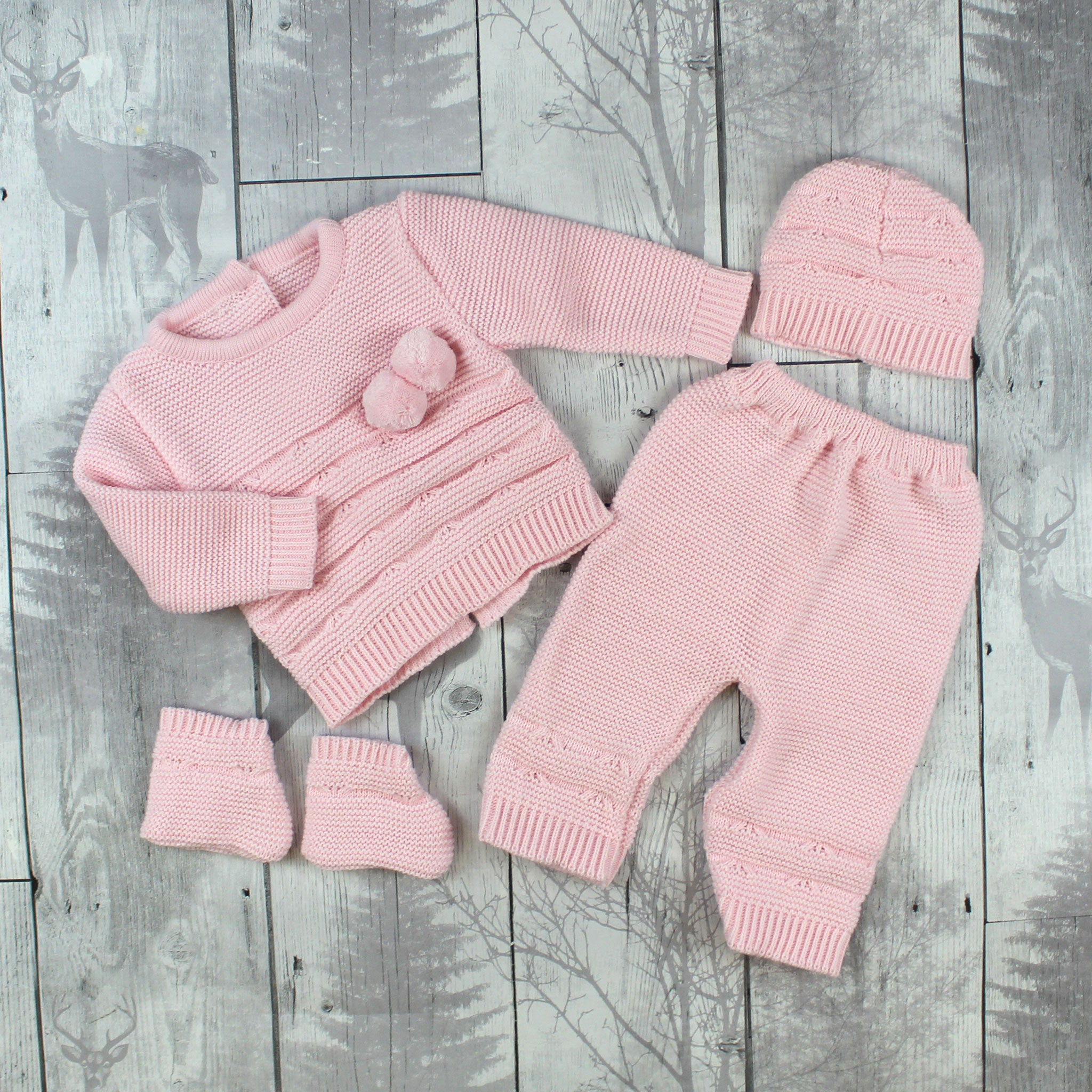 Knitted Baby Girl Outfit Pink Top, Trousers, Booties and Hat