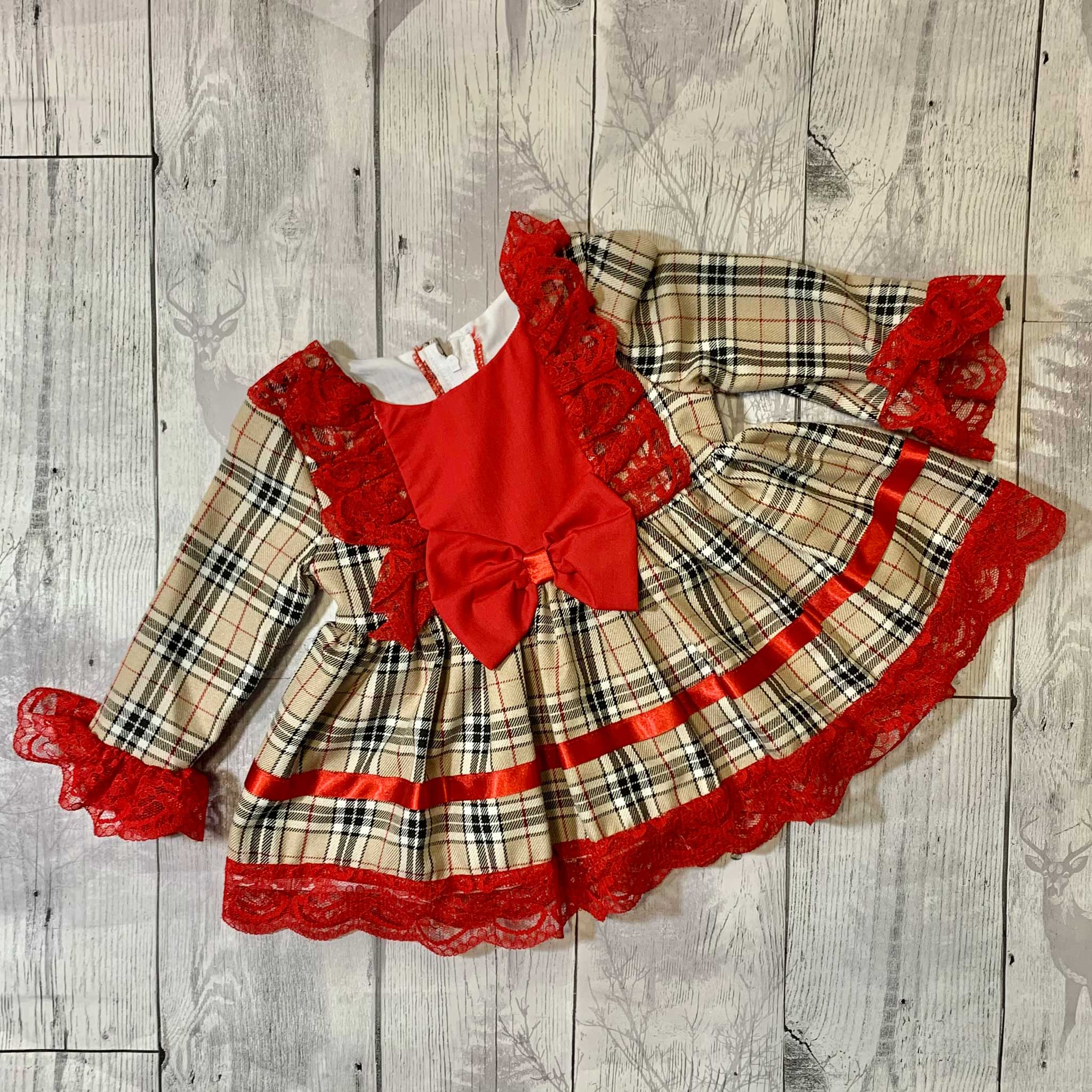 Baby Girls Beige Tartan Dress with Red bow