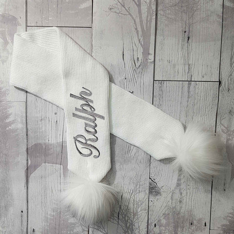 Personalised Baby Scarf White with White Faux Fur pom poms