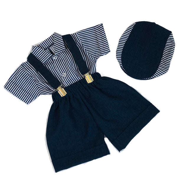 Baby Boys 3 piece Peaky Blinder outfit. Navy Shirt, shorts and hat