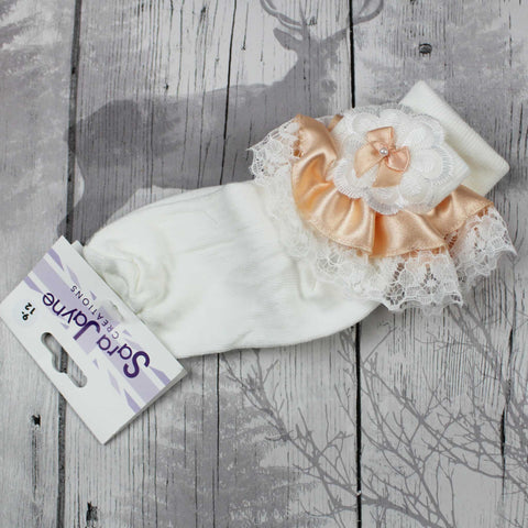 Fancy lace satin peach bow white ankle socks.