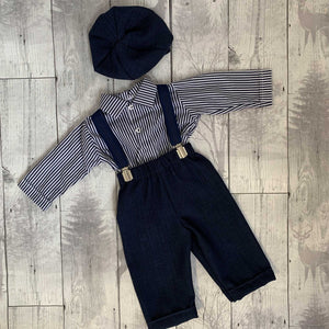 Baby Boys 3 piece Peaky Blinder outfit. Trousers, Shirt, and Hat